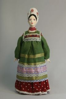 Doll gift. Maiden's festive costume, late 19th century. Arkhangelsk province. Russia