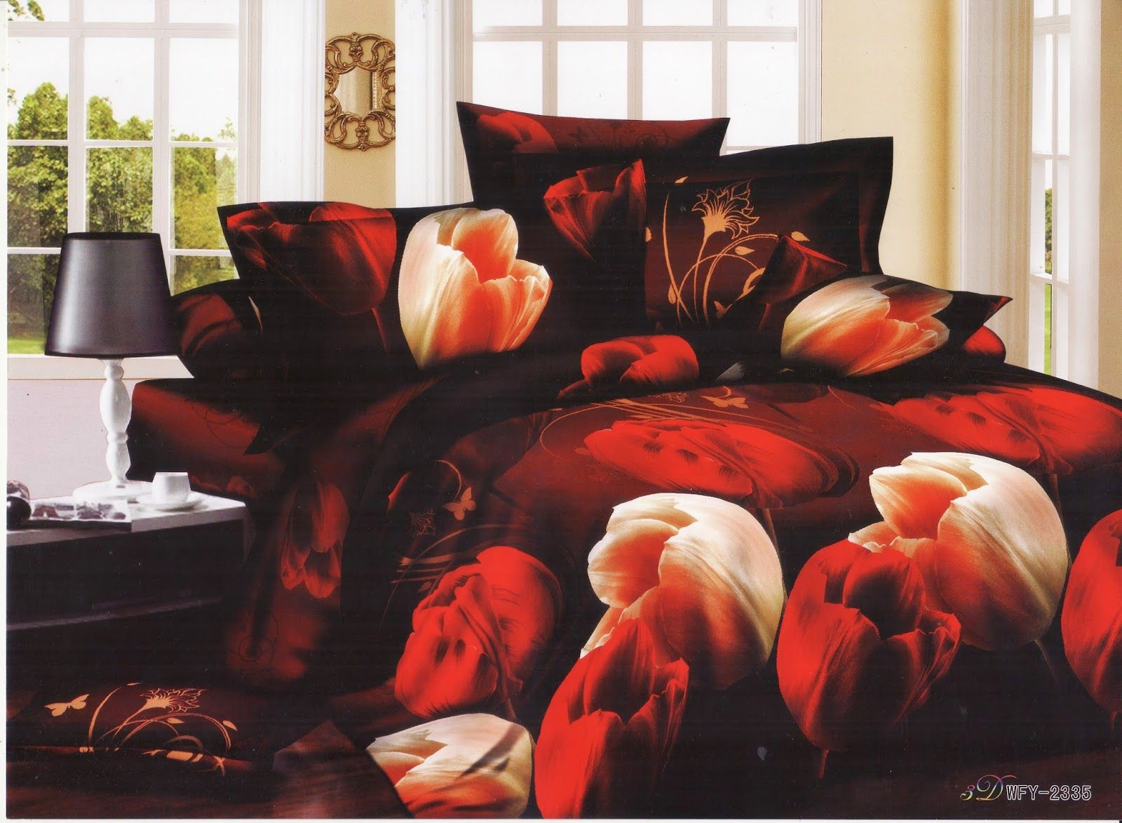 Satin bed linen 3D tulips -2