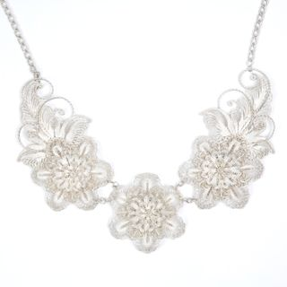 "Kazakovskaya Filigree / Necklace ""Spring color"" silvering"