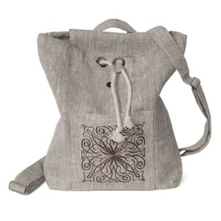 """Linen backpack """"a Christmas Carol"""" gray with silk embroidery"""