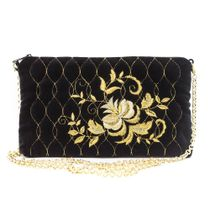 Velvet clutch 'Rosalia' in black with gold embroidery