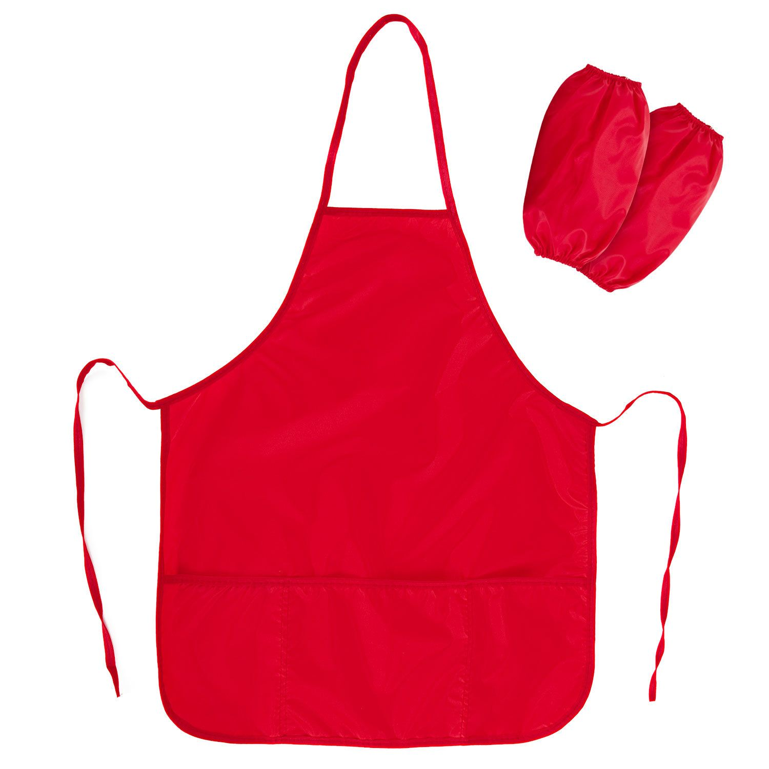 Apron with oversleeves for work and creativity PYTHAGORAS, 44х55 cm, red