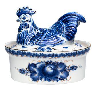 "Form for baking ""Chicken"" gold, Gzhel Porcelain factory"