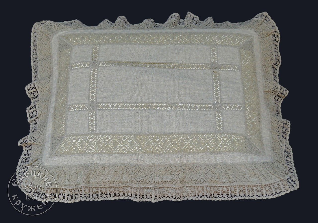 Yelets lace / Linen pillowcase with ruffles
