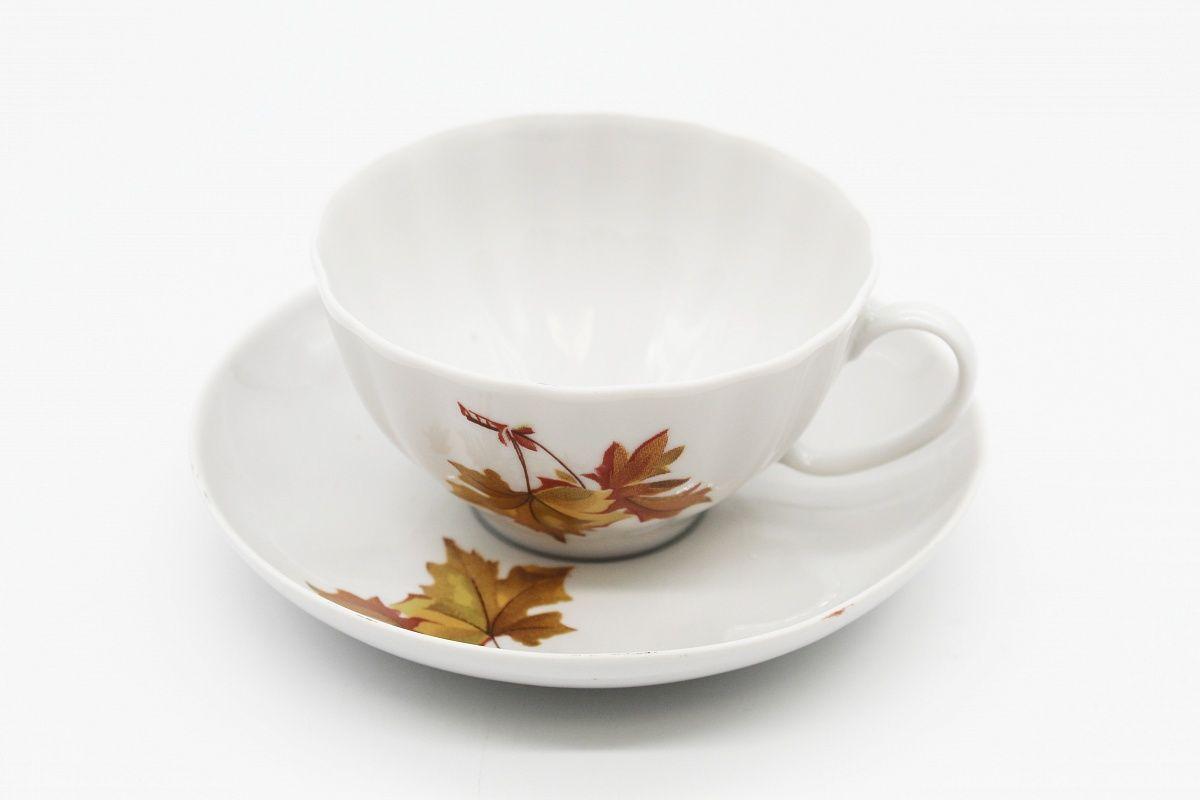 Dulevo porcelain / Tea cup and saucer set, 12 pcs., 275 ml White Swan Economy Maple
