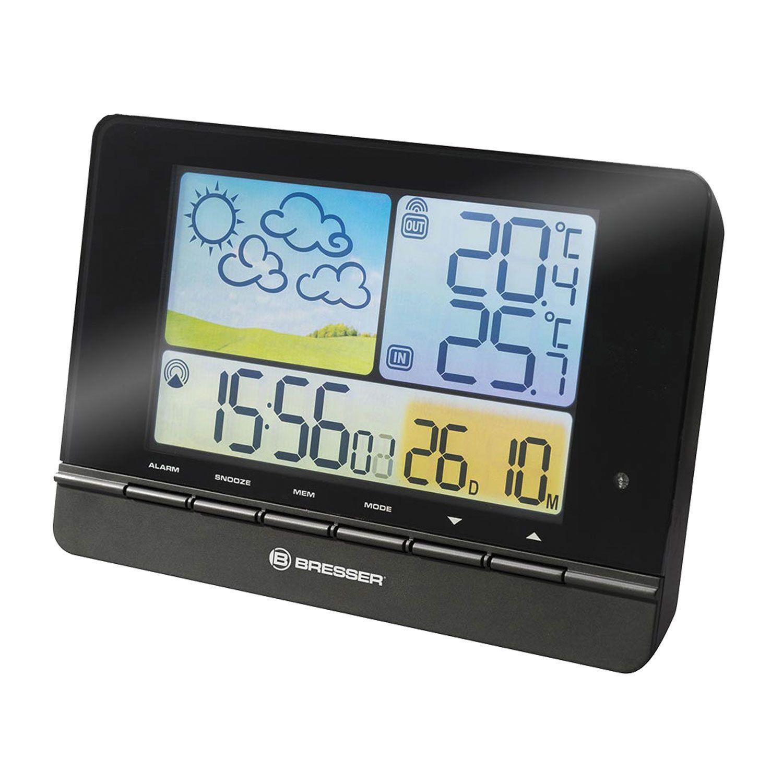 Meteorological station BRESSER MeteoTrend Colour, temperature sensor, hygrometer, clock, alarm clock, black