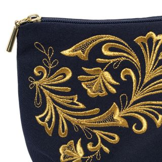 """Cosmetic bag """"Frosty pattern"""" blue with gold embroidery"""