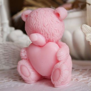 Pink Teddy in love pink - handmade curly soap
