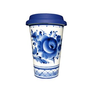 Coffee Cup No. 1 with silicone lid 2 grade, Gzhel Porcelain factory