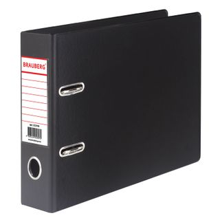 A file folder SMALL FORMAT (148x210 mm), A5, 70 mm, HORIZONTAL, double sided coating, PVC, black, BRAUBERG