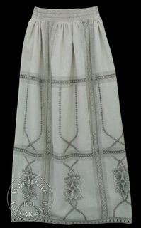 Womens linen skirt white with embroidery