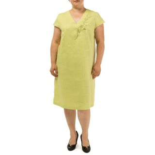 """Women's dress """"Watercolor"""" green with silk embroidery"""