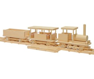 Pelsi / Constructor Wooden railroad with dolls, 378 elements.