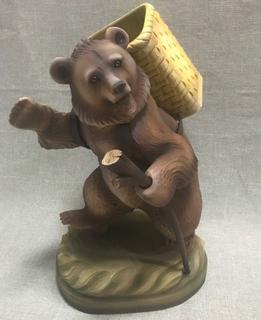 Bear with basket - wooden souvenir, Bogorodskaya factory