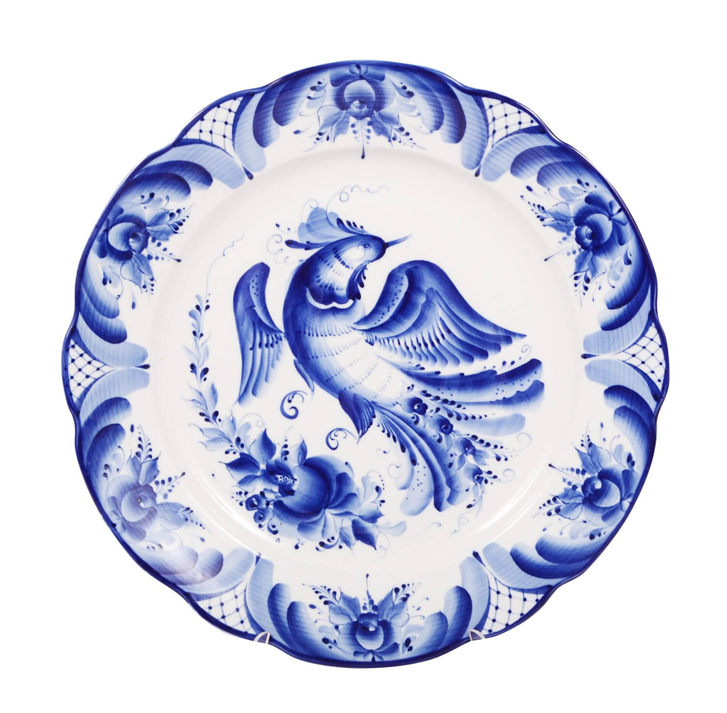 Dulevo porcelain / Round dish Cut-out edge 350 mm Gzhel Bird