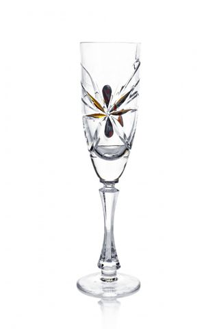 A set of crystal glasses for champagne