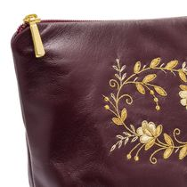 Leather necklace 'Necklace' Burgundy with gold embroidery