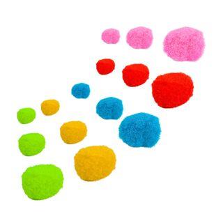 POM-poms for creativity, assorted, 5 colors, 8 mm/15 mm/25 mm, 100 PCs., TREASURE ISLAND