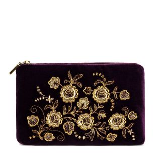 "Velvet cosmetic bag ""Spring mood"" purple"