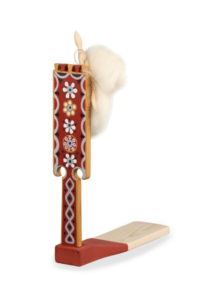 """Shugozerskaya painting / Miniature spinning wheel """"Flowers and stars"""""""