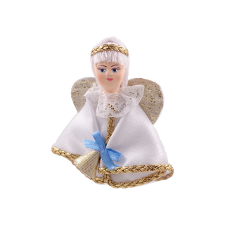 Christmas toy porcelain angel with bell, 8 cm