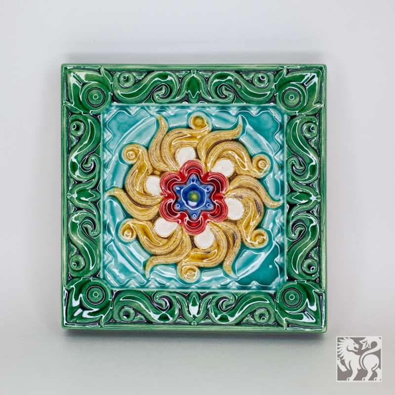 "Yaroslavl majolica / Tile ""Lotus"", green"