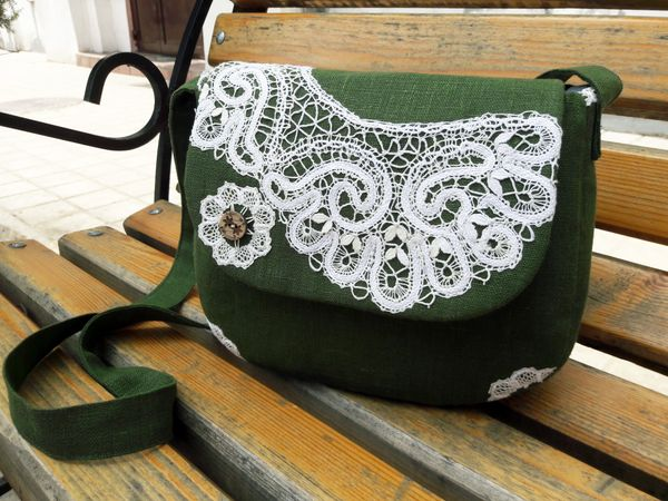Bag trimmed with handmade lace
