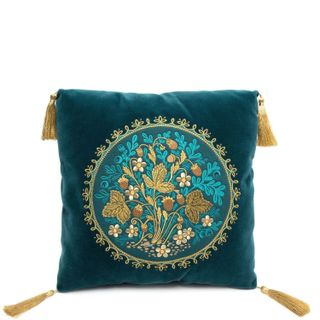 "Sofa decorative pillow with embroidered ""Strawberries"" green with gold embroidery"