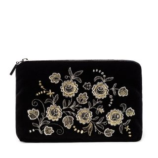 "Velvet cosmetic bag ""Spring mood"" in black with silver embroidery"