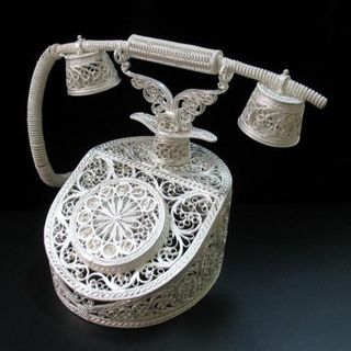 "Souvenir ""Phone"", Kazakov filigree, silver plated"