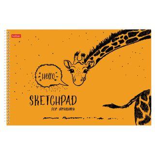 "Sketchbook, white paper 100 g / m2, 210x297 mm, 40 sheets, spiral, ""HELLO"""