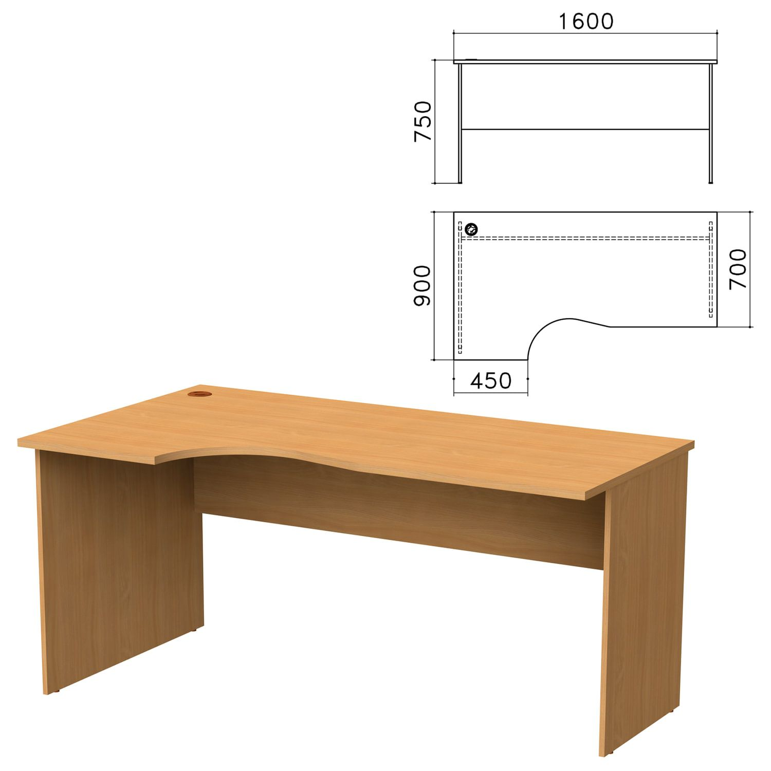 "Table written ergonomic ""Monolith"", 1600s900s750 mm, left, color beech Bavaria"
