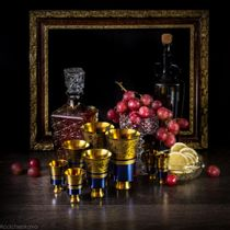 "Festive ""Anniversary"" set of zirconium in a gift wooden casket"