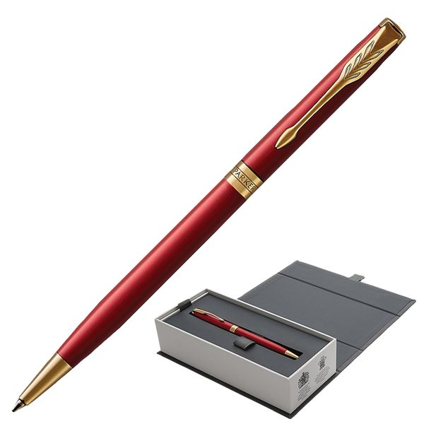 Ballpoint pen PARKER 'Sonnet Core Intense Red Lacquer GT Slim' thin, enclosure red high gloss lacquer, gold plated parts, black