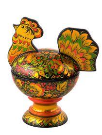 "Khokhloma painting / Candy bowl ""Cockerel"" 190x150x230"