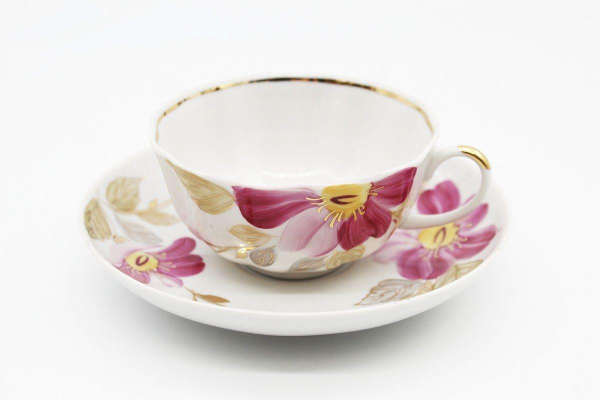 Dulevo porcelain / Set of tea cup with saucer, 12 pcs., 220 ml Tulip Purple flower