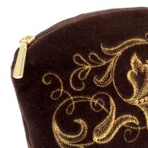 Velvet cosmetic bag 'Romance' brown with gold embroidery