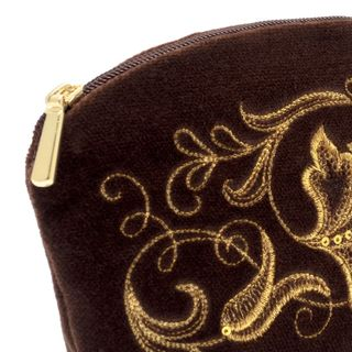 "Velvet cosmetic bag ""Romance"" brown with gold embroidery"