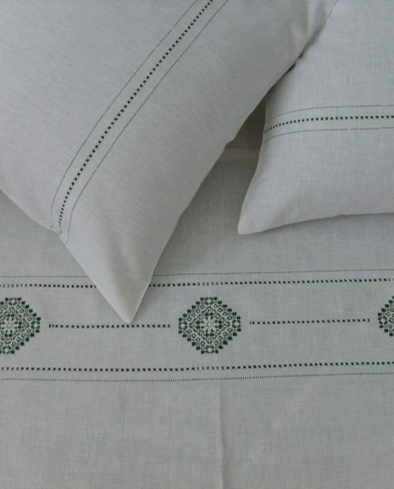 "LINEN SET FROM FLAX WITH EMBROIDERY ""CARVED PATTERNS"""