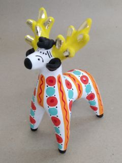 Dymkovo clay toy Deer with yellow horns