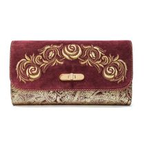 Suede clutch 'Black roses' Burgundy with gold embroidery