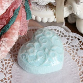 Blue Knitted heart - handmade curly soap