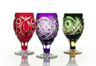 """Set of crystal glasses """"Evenings"""" red 6 pieces"""