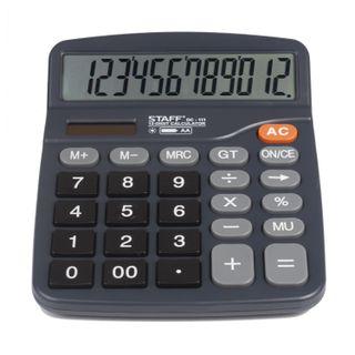 Desktop calculator STAFF PLUS DC-111 (180x145 mm), 12 digits, dual power supply, + AA BATTERY