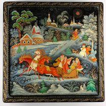 Box Palekh 'Winter', the master Chaparina