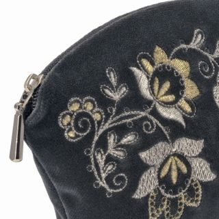 """Velvet cosmetic bag """"Spring mood"""" gray color with silver embroidery"""