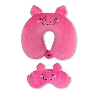 Neck pillow. With the sleep mask. Pig (6)