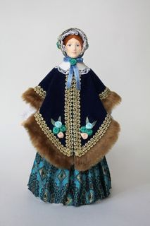Doll gift porcelain. A lady in a velvet cloak. 1850s city of Petersburg