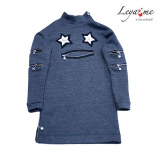 Dress tunic with applique gray with zippers on the sleeves and neck