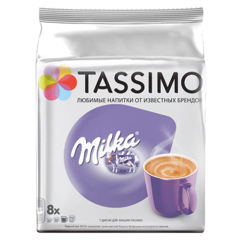 "TASSIMO / Capsules for coffee machines ""Milka"", cocoa capsules 8 pcs. x 8 g, milk capsules 8 pcs. x 38 g"